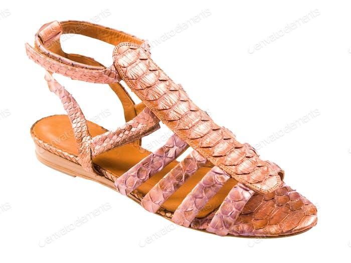 Python leather roman sandal