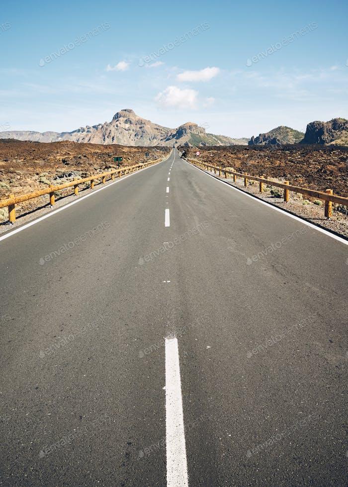 Scenic road in Teide National Park, focus on asphalt, Tenerife,