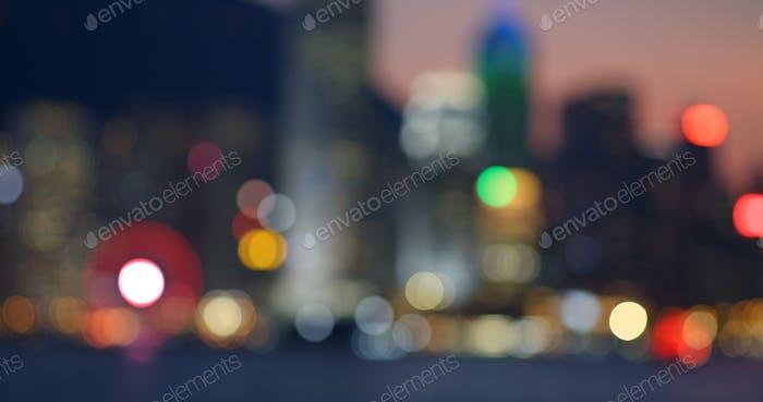 Blur of city of Hong Kong at night