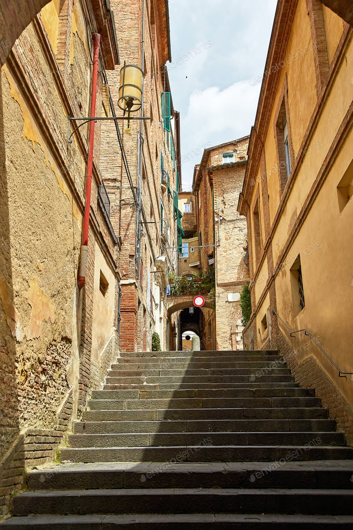 Beautiful narrow street of Siena