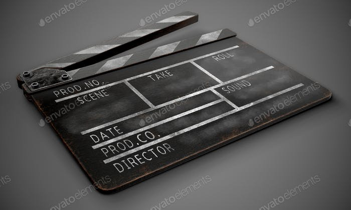 Clapperboard on a dark background close-up.