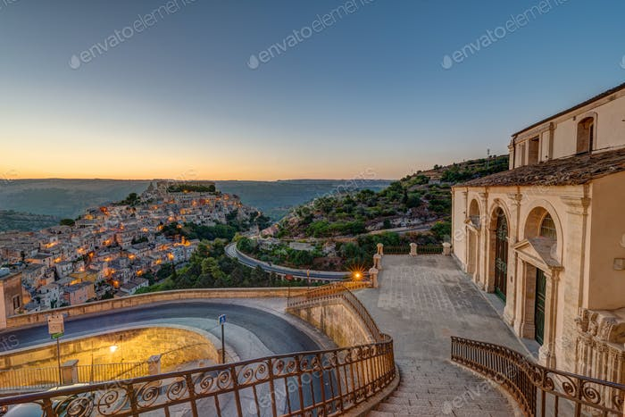 Ragusa Ibla in Sicily in the early morning