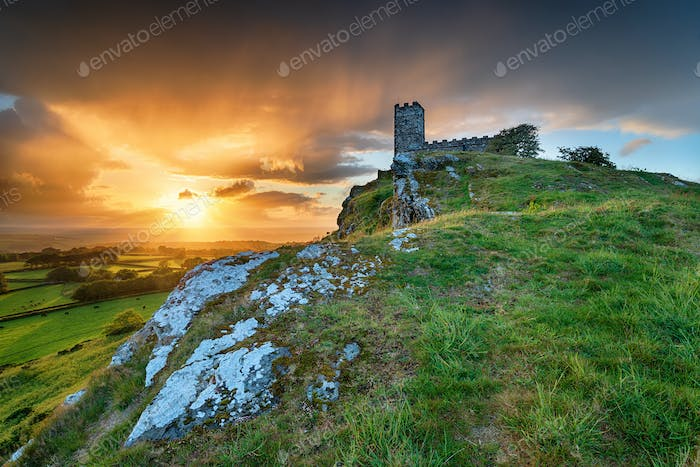 Stormy Sunset over Brentor on Dartmoor