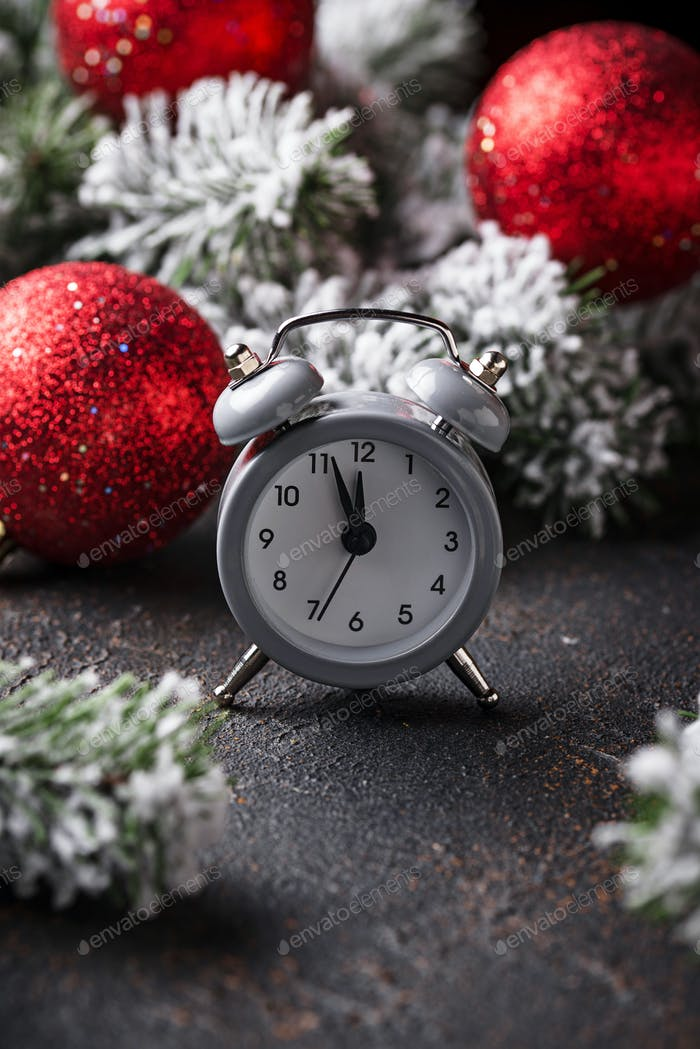 New year background with alarm clock