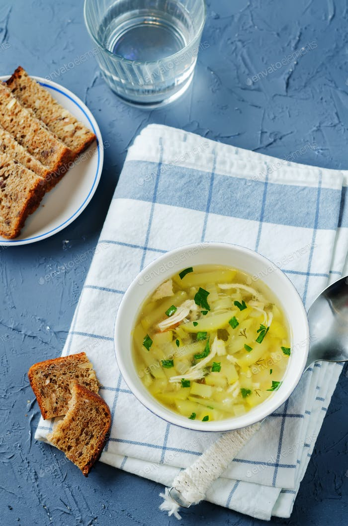 Zucchini Chicken Soup with bread