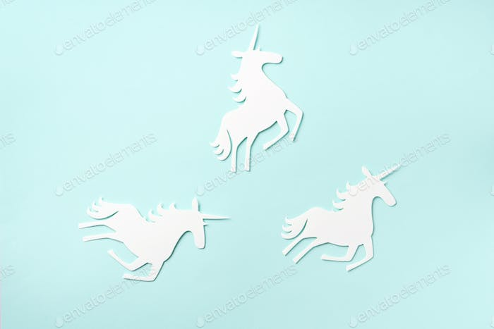 Creative unicorn pattern on blue background. Abstract art texture Minimal fantasy concept. Banner