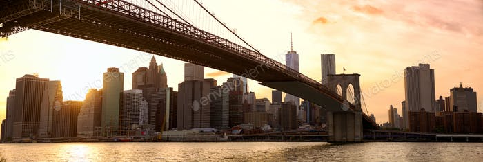 New York panorama at sunset