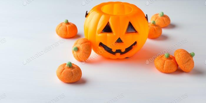Decorative pumpkin with orange marshmallows