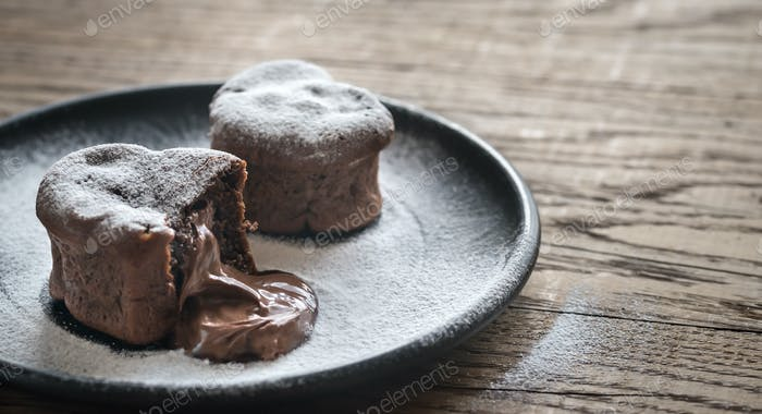 Chocolate lava cakes in the shape of heart