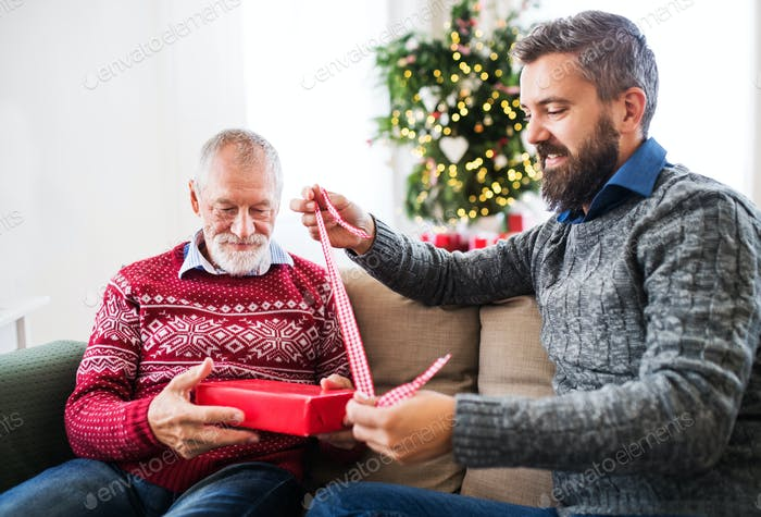 A senior father and adult son with a present sitting on a sofa at Christmas time.