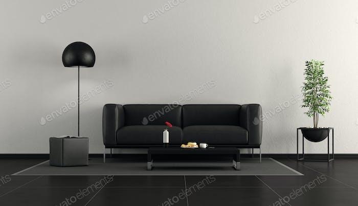 Minimalist black and white living room