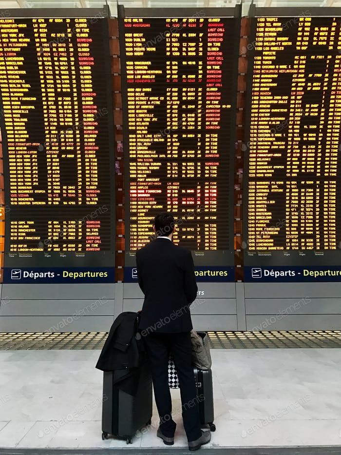 Businessman with a briefcase on a background of departure board at airport