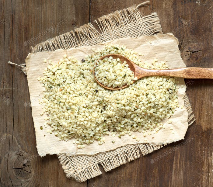 Hemp seeds with a spoon