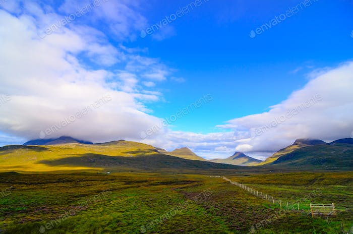 Scenic view of the mountains and meadows, Inverpolly, Scotland