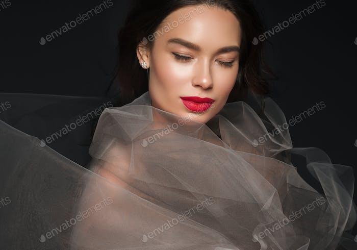 Kunst Schönheit Frau Porträt rot Lippenstift Kleid schöne asiatische