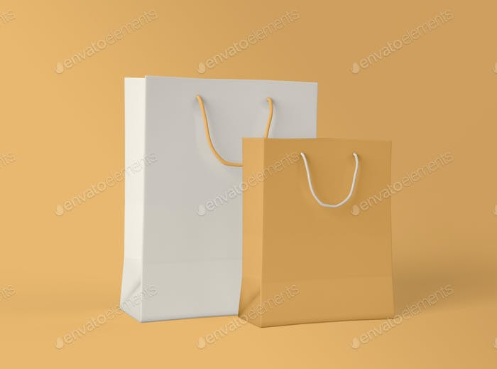 3D Illustration. Mockup of paper shopping bag.