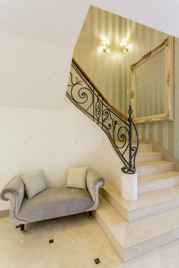 Hallway with marble stairs