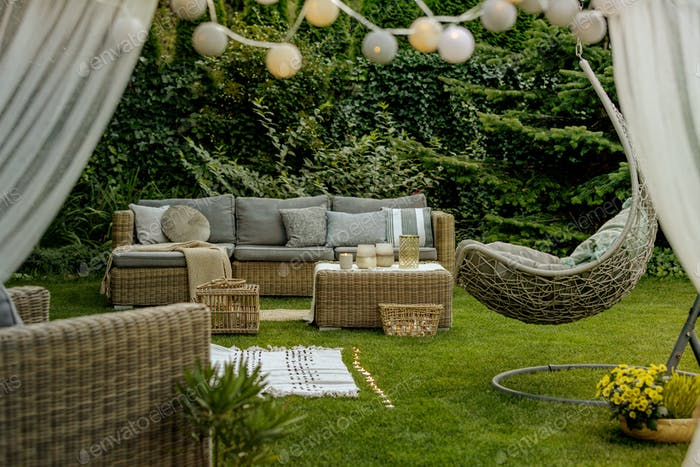 Cozy sofa set in the garden