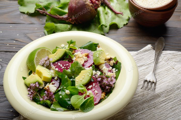 Mediterranean roasted beet salad with avocado