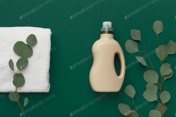 Plastic bottle of washing conditioner, household chemicals