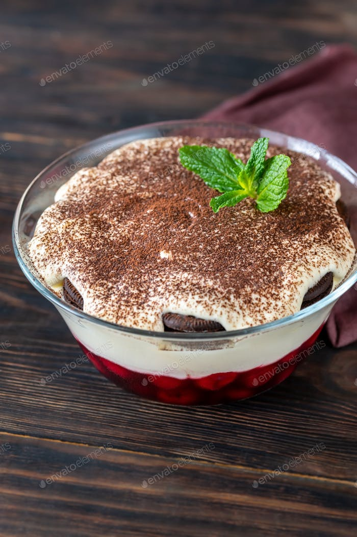 Dessert with Oreo cookies, cherries and cream cheese