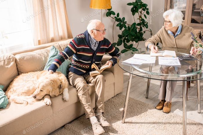 Senior Couple Talking at Home