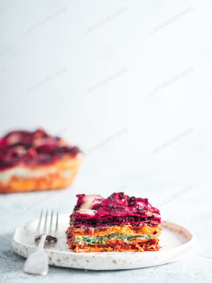 Vegetable rainbow lasagne