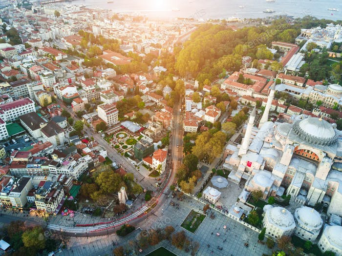 Aerial Footage of Sultanahmet, Blue Mosque