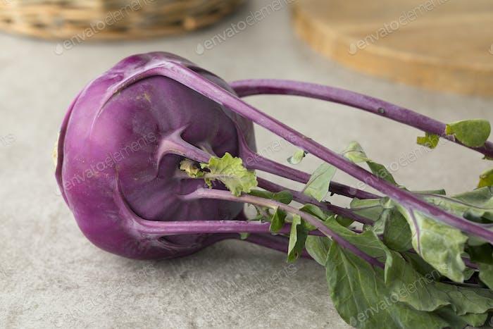 Fresh purple kohlrabi