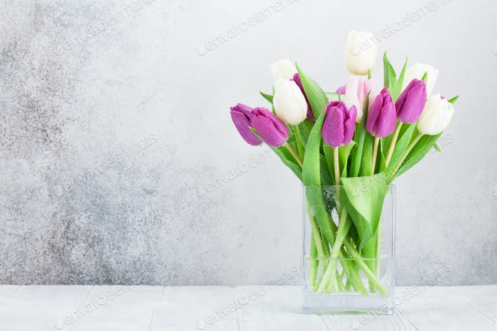 Bunte Tulpen Blumenstrauß