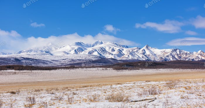 Sayan Mountains. March. Mongolia