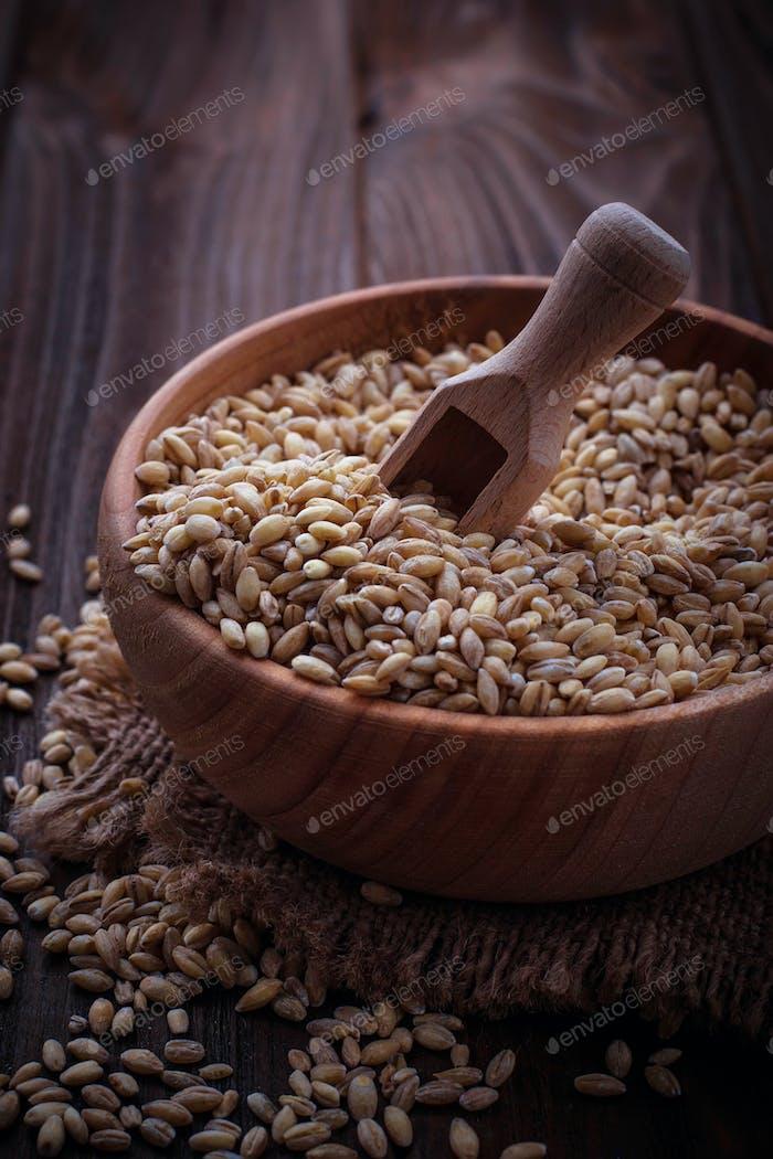 Wheat grain in wooden bowl