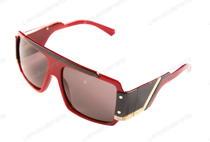 Rimmed red black and golden sunglasses