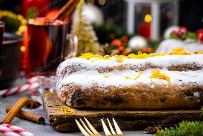 Christmas Cake on Festive Decorated Table
