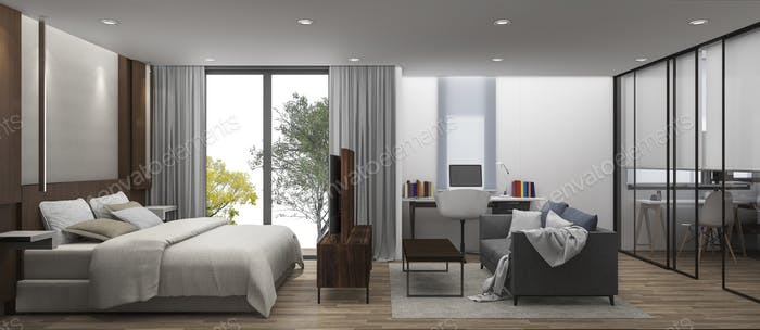 3D Rendering bedroom with walk in closet