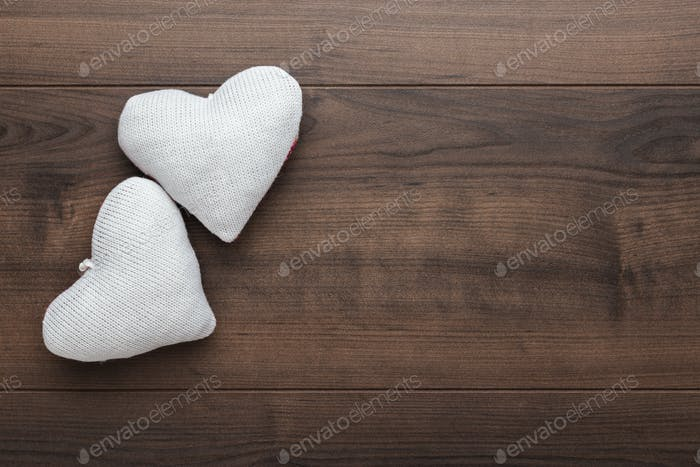 Two Knitted Heart Shapes