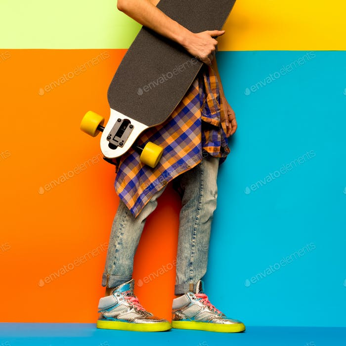 Skateboard Fashion Girl. Minimal design. Stylish clothes