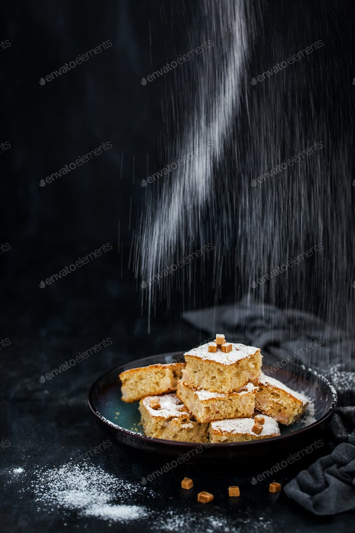 Fresh homemade simple delicious corn and fruits cake
