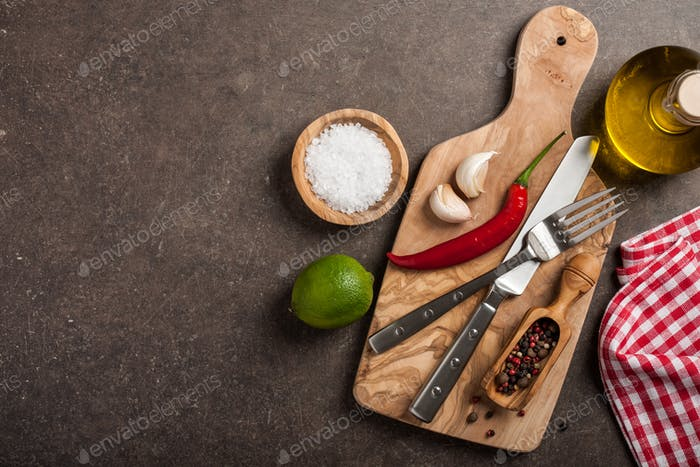 Cooking table with ingredients