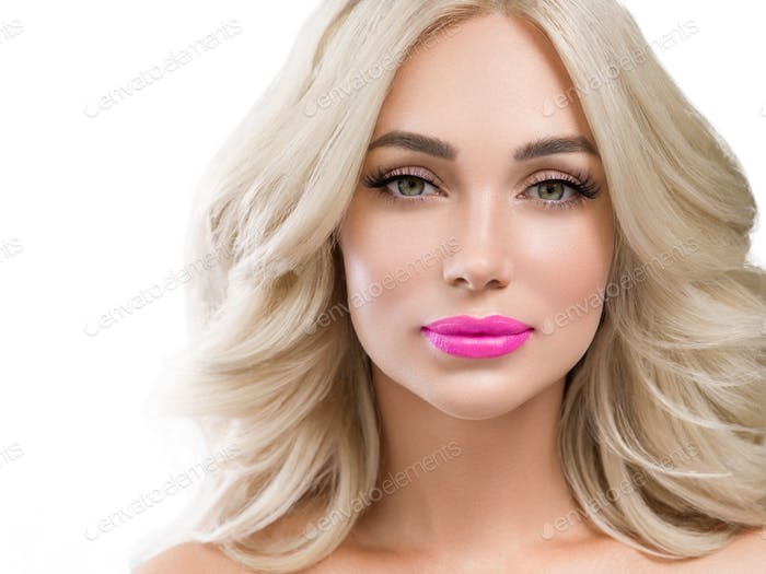 Blonde woman lashes with long curly hairstyle and pink lipstick isolated on white