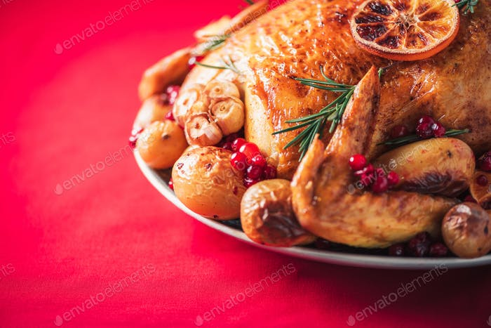 Roasted chicken with oranges, rosemary and cranberries on plate over red background. Traditional
