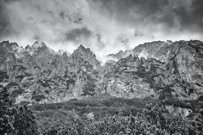 Black and white picture of High Tatra Mountains.