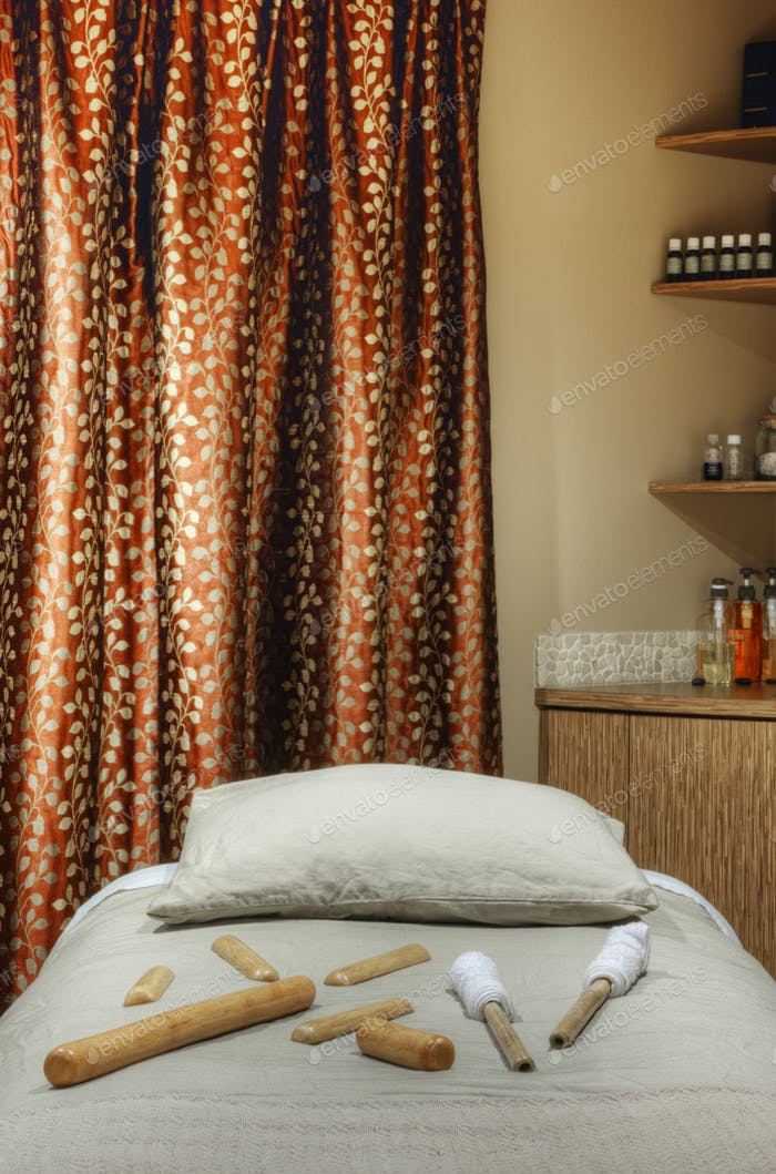 54819,Tools on massage table in beauty salon