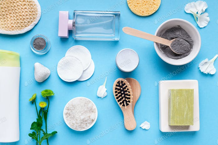 Homemade cosmetic clay powder and various spa products