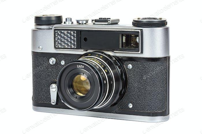 Vintage analog camera on white background