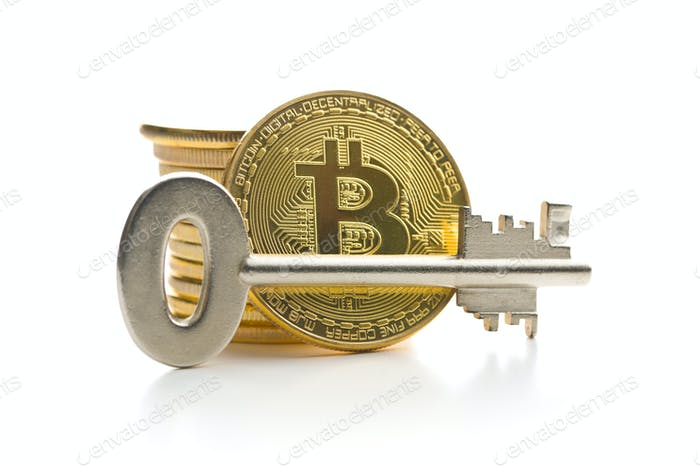 Bitcoin and safe key.