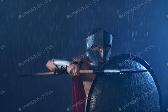 Spartan warrior fighting with spear