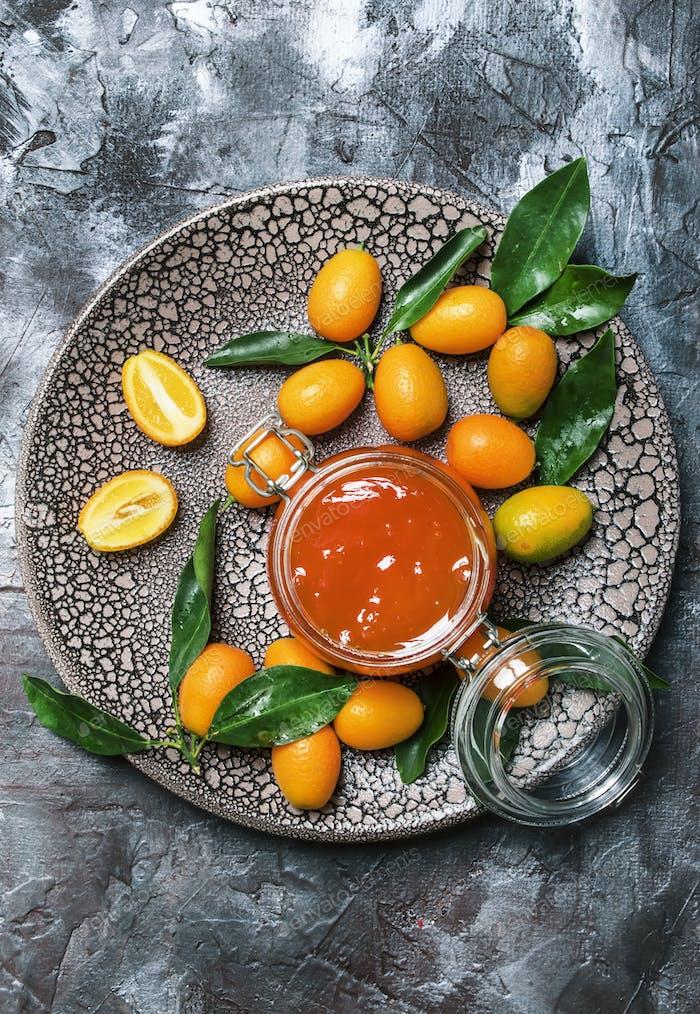 Kumquat confiture in glass jar
