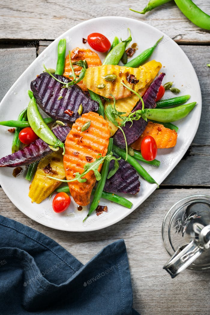 Grilled Sweet Potatoes with Snap pea and Rocket salad