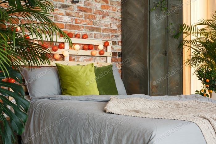 Grey and green bedding